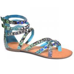 Snakey Black/Blue Ladies Sandals