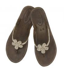 Plain Flower Heel - Silver Sandals