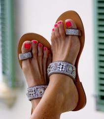Serena - Silver on Natural Sandals