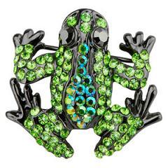 Victorian Green Crystal Frog Brooch