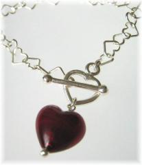 Ruby red heart bracelet