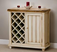 Baku Cream Painted Mango Wine Rack Cabinet