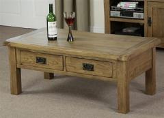 Rustic Solid Oak 4 Drawer Coffee Table