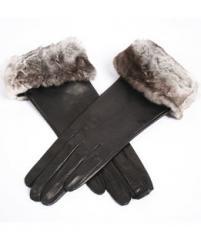Black Gloves with Fur Cuff