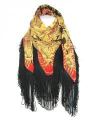 Fringed large square silk scarf