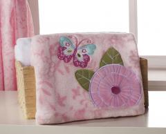 Beautiful pink boa pram/crib blanket