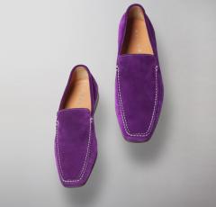 Фиолетовые мокасины замши