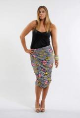 Print Jersey Gathered Skirt