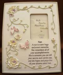 Nan Photo Frame with Crystals, Flowers and Verse