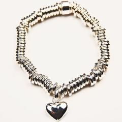 SilverPlated Link Bracelet/Heart
