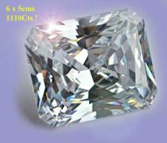 Octagonal Cubic-Zirconia white display gems.
