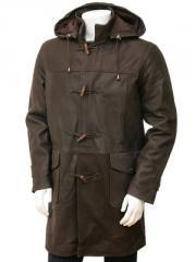 Men's Leather Duffle Coat in Brown