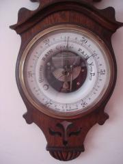Art nouveau oak barometer