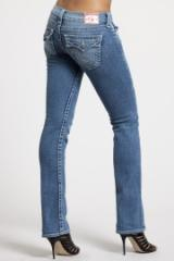 Clear Crystal Button Straight Leg Jean