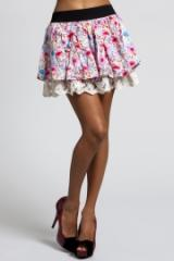 Splash Floral Skirt With Lace Frill Hem