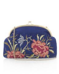 Fire Flower Slub Silk Clutch Bag