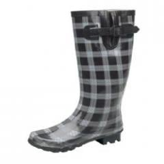 Wide Fitting Ladies Wellies Fancy Check Black And