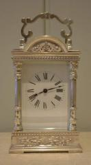 Unusual silver plated Carriage Clock