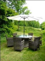 Rattan Kesington 6 SeaterRound Table Set With Lazy