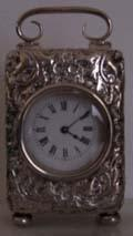 Minature Repousse Silver Carriage Clock WD