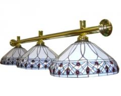 Brass and Tiffany Glass Deluxe Light Rail