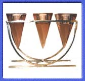 Three Glass Pyramids with Pink Glass Candle Holder