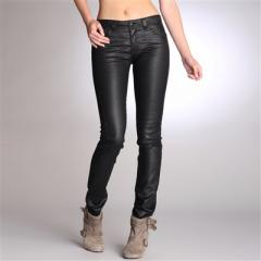 Hipster Waist Coated Slim-Fit Stretch Jeans
