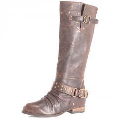Chocolate leather biker boots