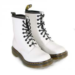 Dr. Martens white patent boot