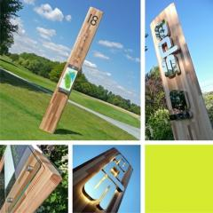 Timber fin exterior signage system