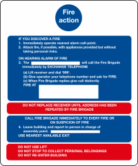 Fire Action notices - buildings with lifts