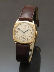Rolex 1930s 9ct gold cushion Watch