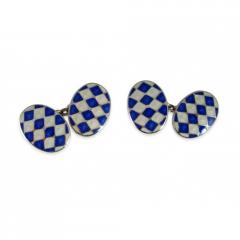 Blue and White Enamel Cufflinks