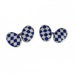 Blue and White Enamel Cufflinks