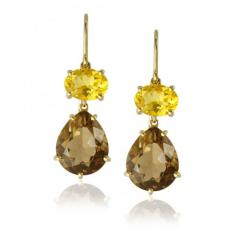 Isabelle Langlois Citrine and Smokey Quartz Earrings