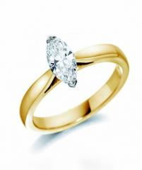 18ct yellow marquise cut diamond solitaire ring
