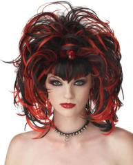 Red Black Goth witch Wig
