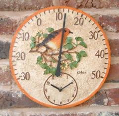 Bird Thermometer with Clock