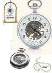 Mount Royal Skeleton Pocket Watch, Chrome, Arabic