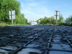 Structural reinforcement of asphalt layers in