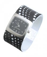 Black and White spotty Bangle Watch