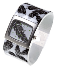 Black Feather Bangle Watch