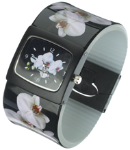 White Moth Orchid Bangle Watch