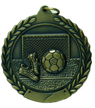 Gold Soccer High Relief Medal 50mm