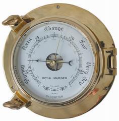 "Force 4 6"" Brass Porthole Barometer"