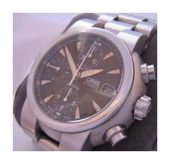 Oris TT1 Chronograph, Black Dial With Stainless