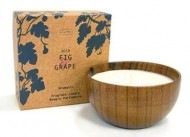 Di Palomo Wild Fig & Grape Fragrant Candle in Wooden Bowl