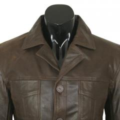 Aviatrix Brown Casual Leather Overcoat