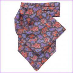 Black & Purple Paisley Silk Cravat