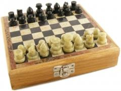 Hand Crafted Chess Set With Stone Pieces